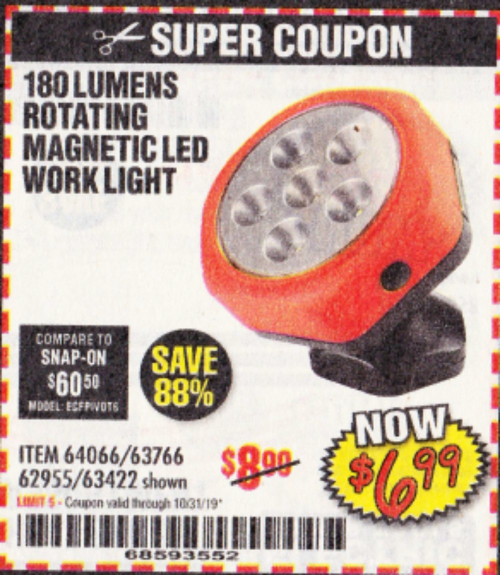 Harbor Freight Coupon, HF Coupons - Rotating Magnetic Led Work Light