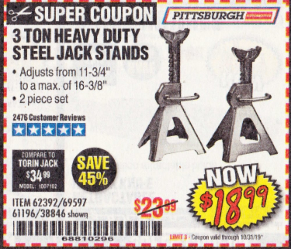 Harbor Freight Coupon, HF Coupons - 3 Ton Heavy Duty Steel Jack Stands
