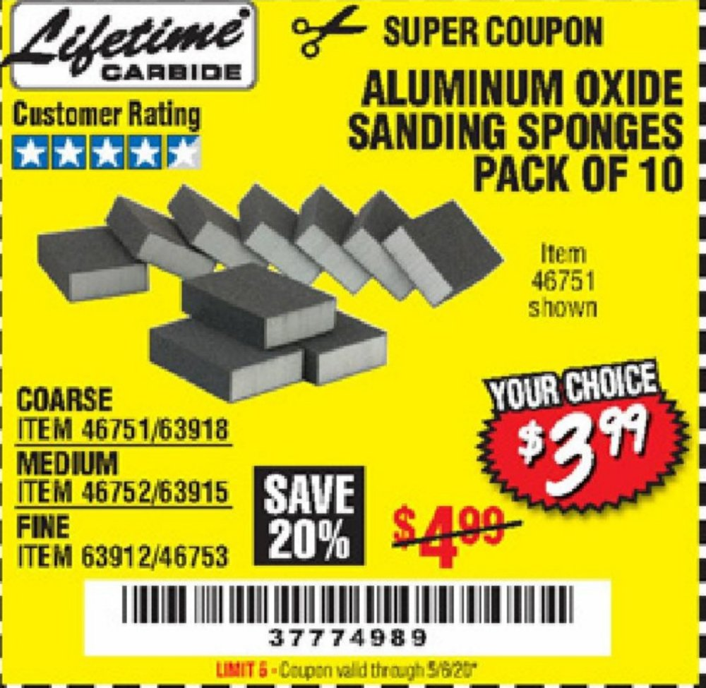 Harbor Freight Coupon, HF Coupons - Aluminum Oxide Sanding Sponges Pack Of 10