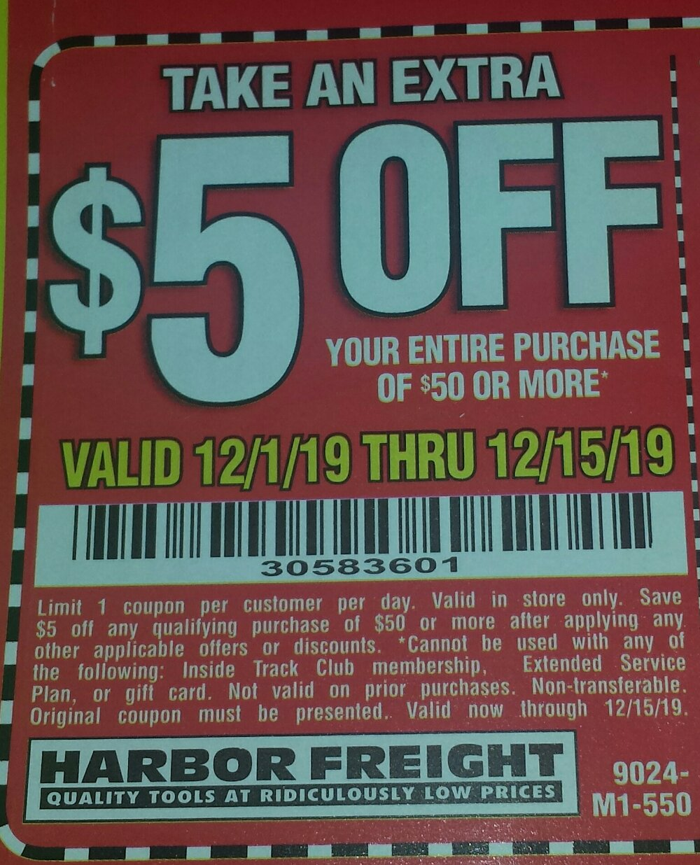 Harbor Freight Coupon, HF Coupons - $5 off $50