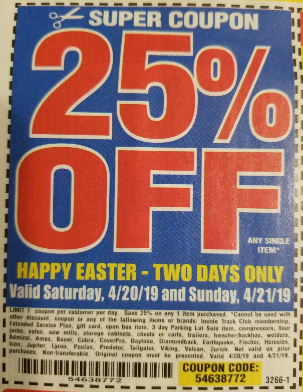 Harbor Freight Coupon, HF Coupons - 25% Off Single Item