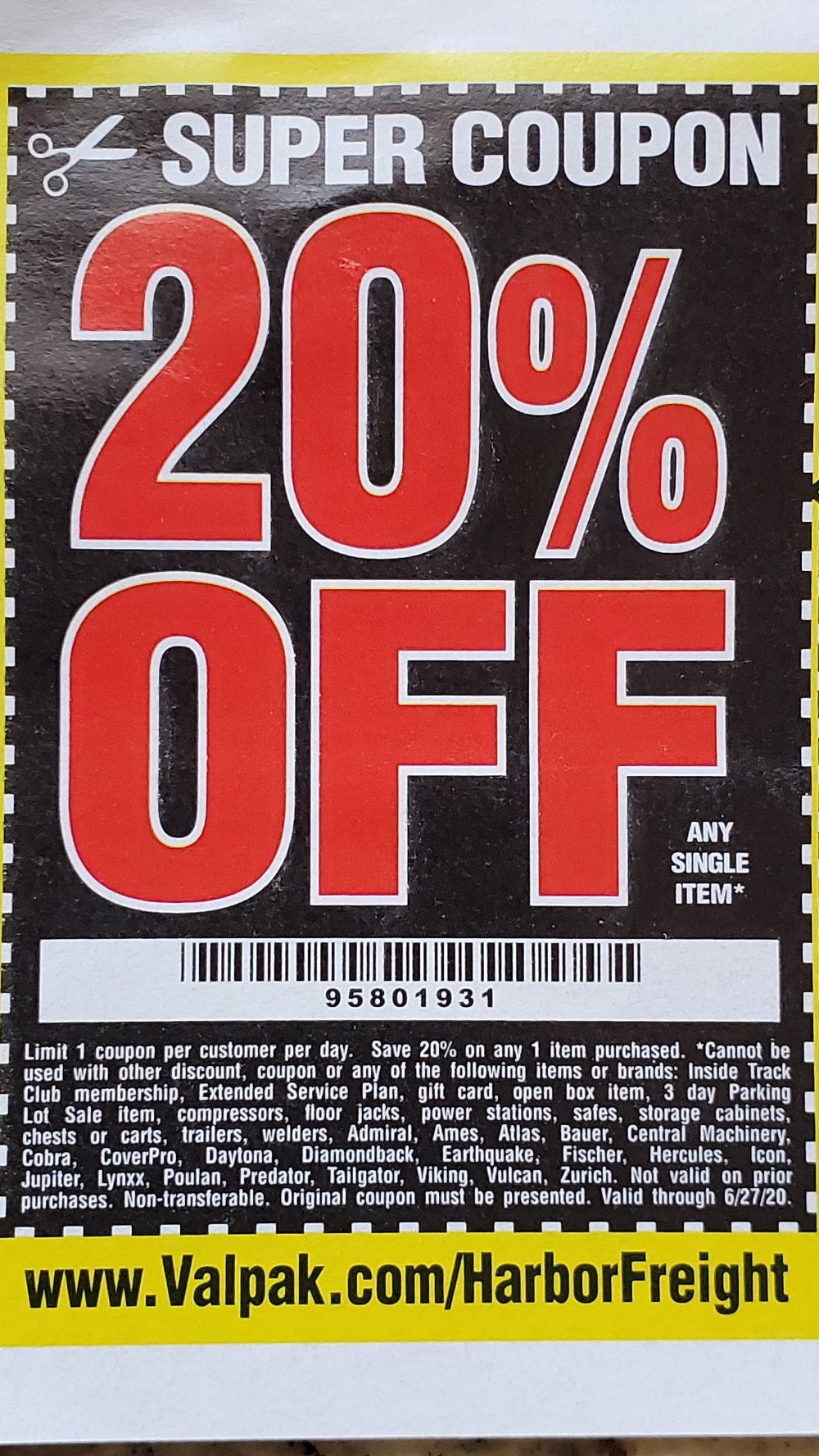 Harbor Freight Coupon, HF Coupons - 20%off Any One Item