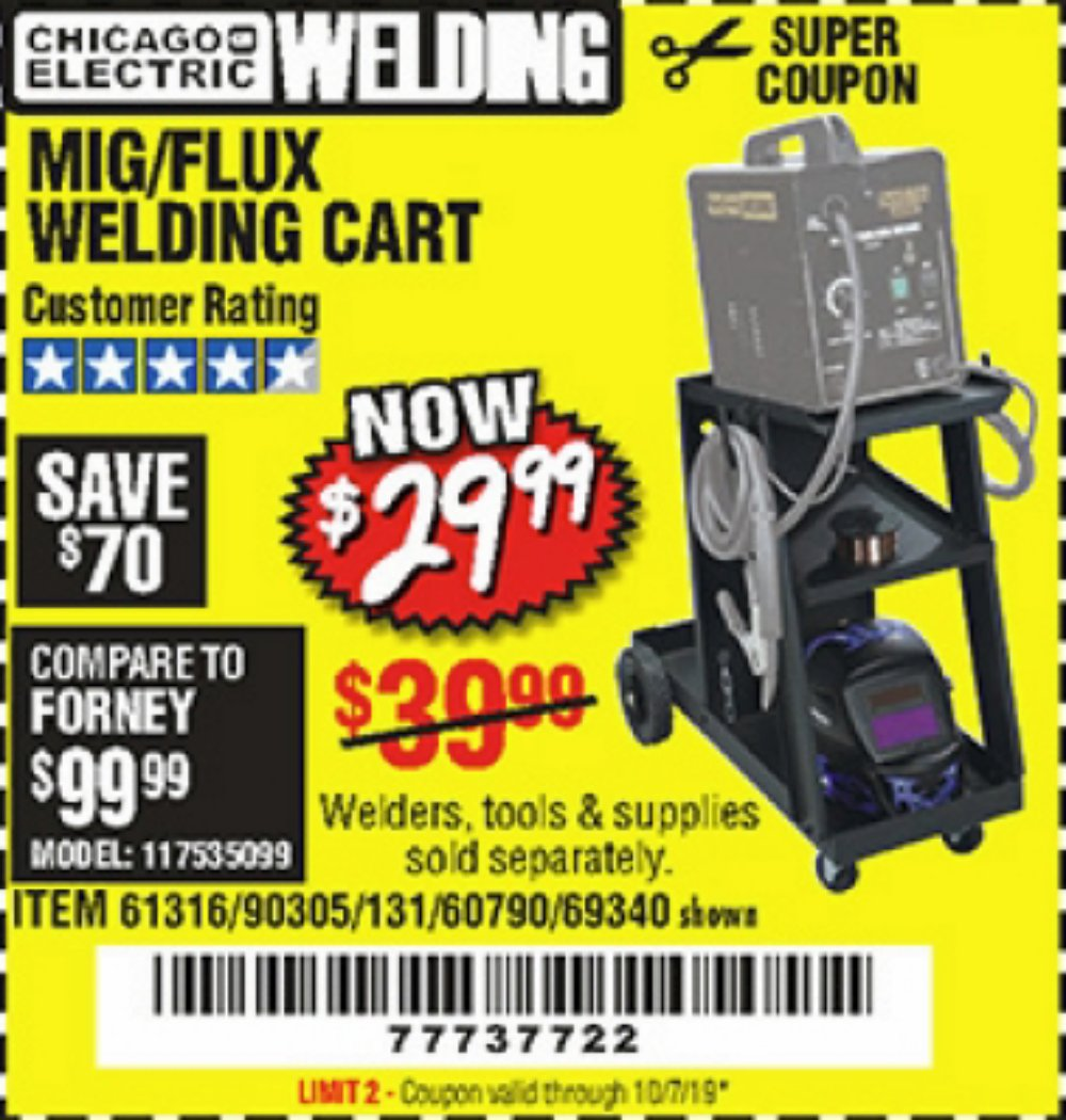 Harbor Freight Coupon, HF Coupons - Mig/Flux Welding Cart