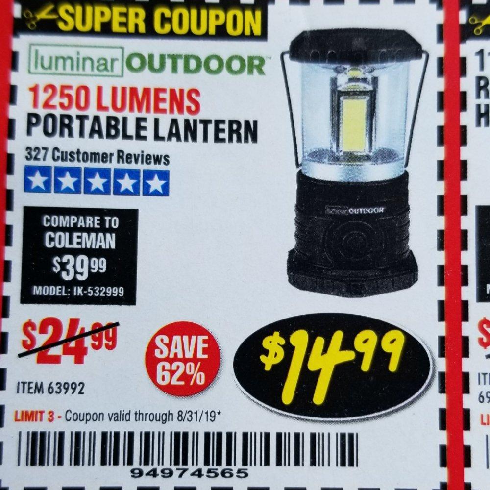 Harbor Freight Coupon, HF Coupons - 1250 Lumens Portable Lantern