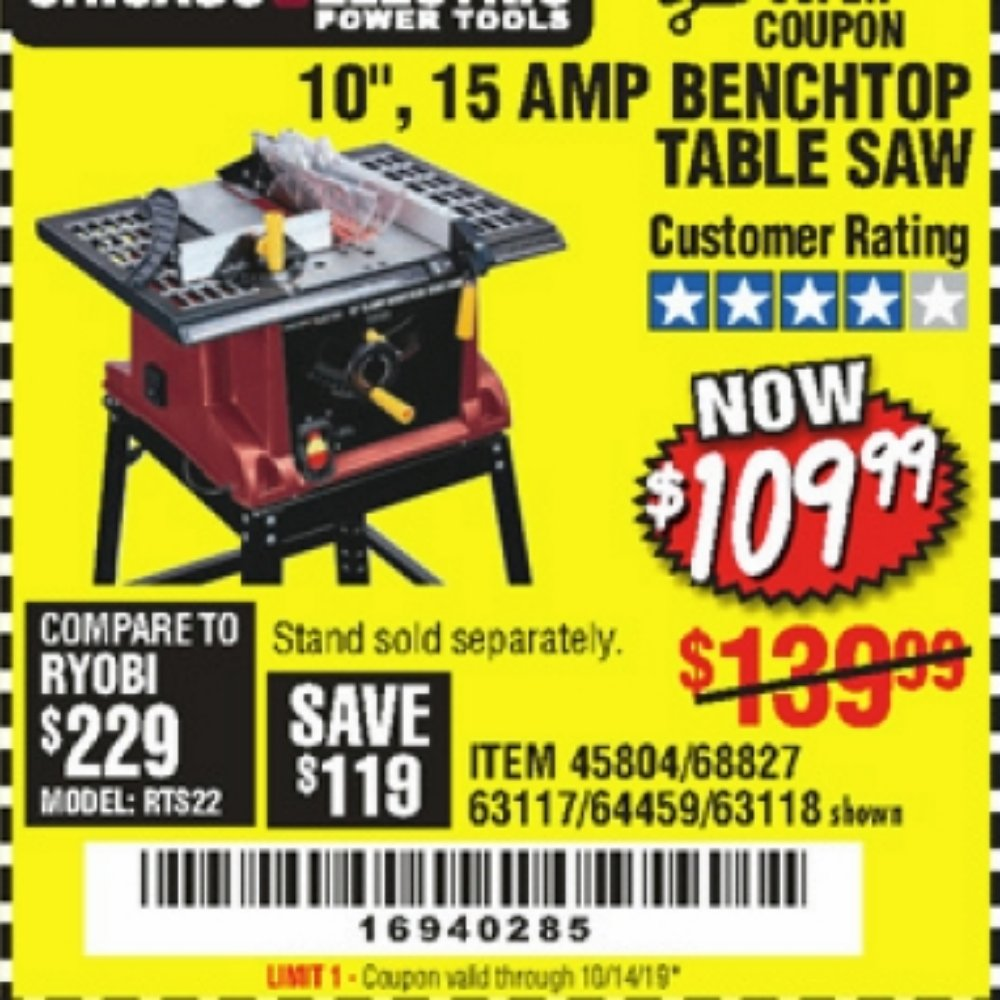Harbor Freight Coupon, HF Coupons - Benchtop table saw
