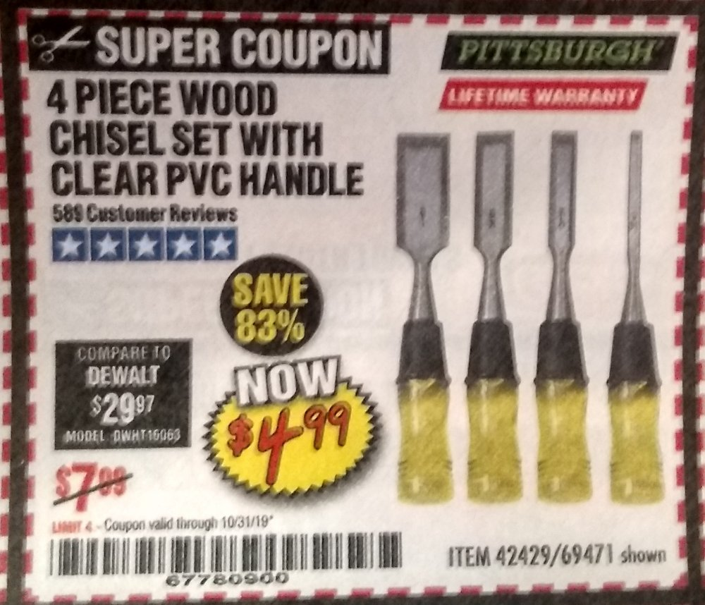 Harbor Freight Coupon, HF Coupons - 4 piece wood chisel set with clear PVC handle