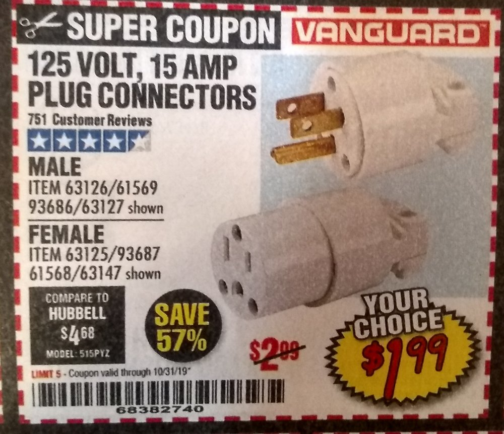 Harbor Freight Coupon, HF Coupons - 125 volt, 15 amp plug connectors