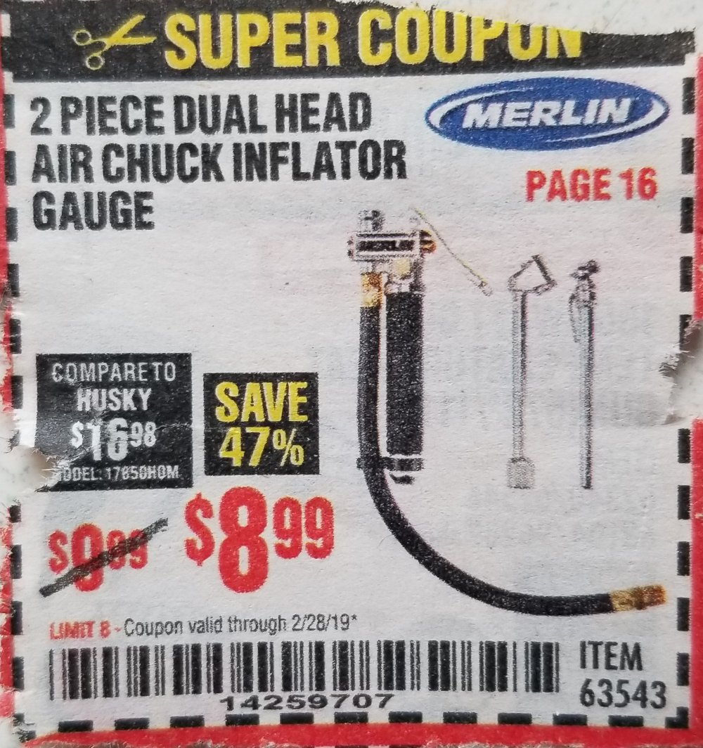Harbor Freight Coupon, HF Coupons - 2 Piece Dual Head Air Chuck Inflator Gauge