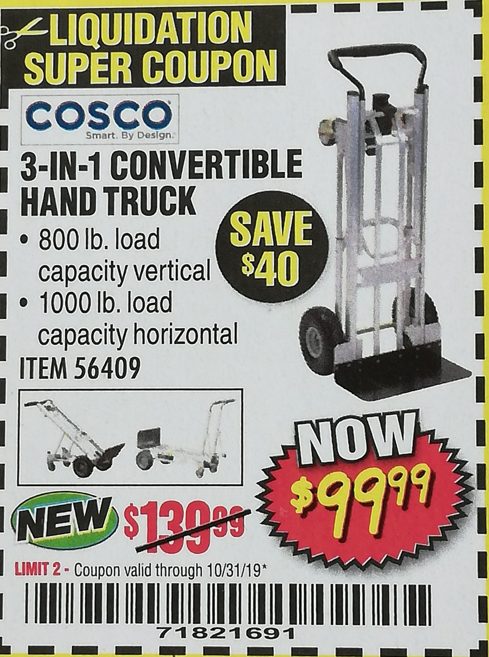 Harbor Freight Coupon, HF Coupons - 3-IN-1 CONVERTIBLE HAND TRUCK