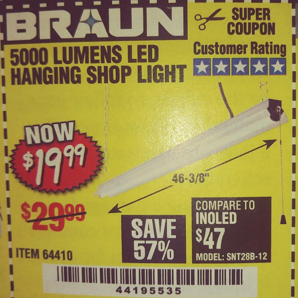 Harbor Freight Coupon, HF Coupons - Braun 5000 Lumens LED Shop Light