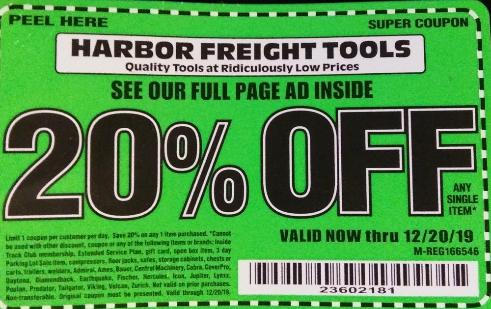 Harbor Freight Coupon, HF Coupons - 20 Percent Off