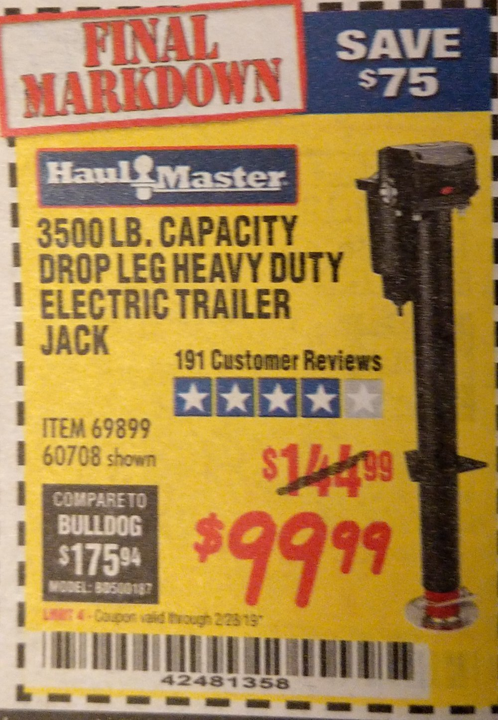 Harbor Freight Coupon, HF Coupons - 3500 Lb Drop Leg Heavy Duty Electric Trailer Jack
