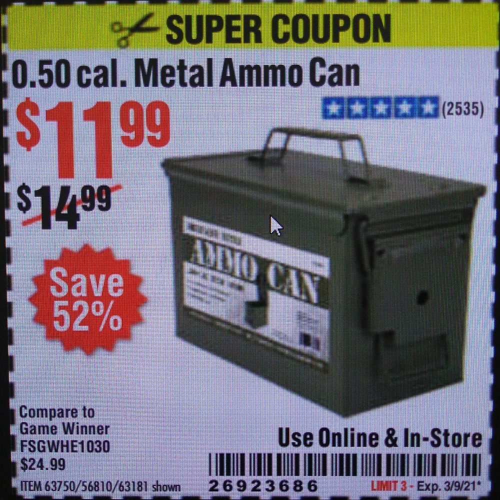 Harbor Freight Coupon, HF Coupons - .50 Cal Metal Ammo Can