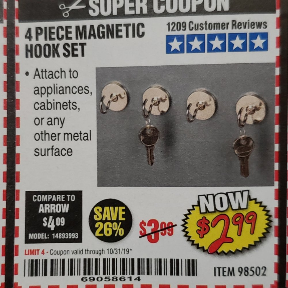 Harbor Freight Coupon, HF Coupons - 4 Piece Magnetic Hook Set