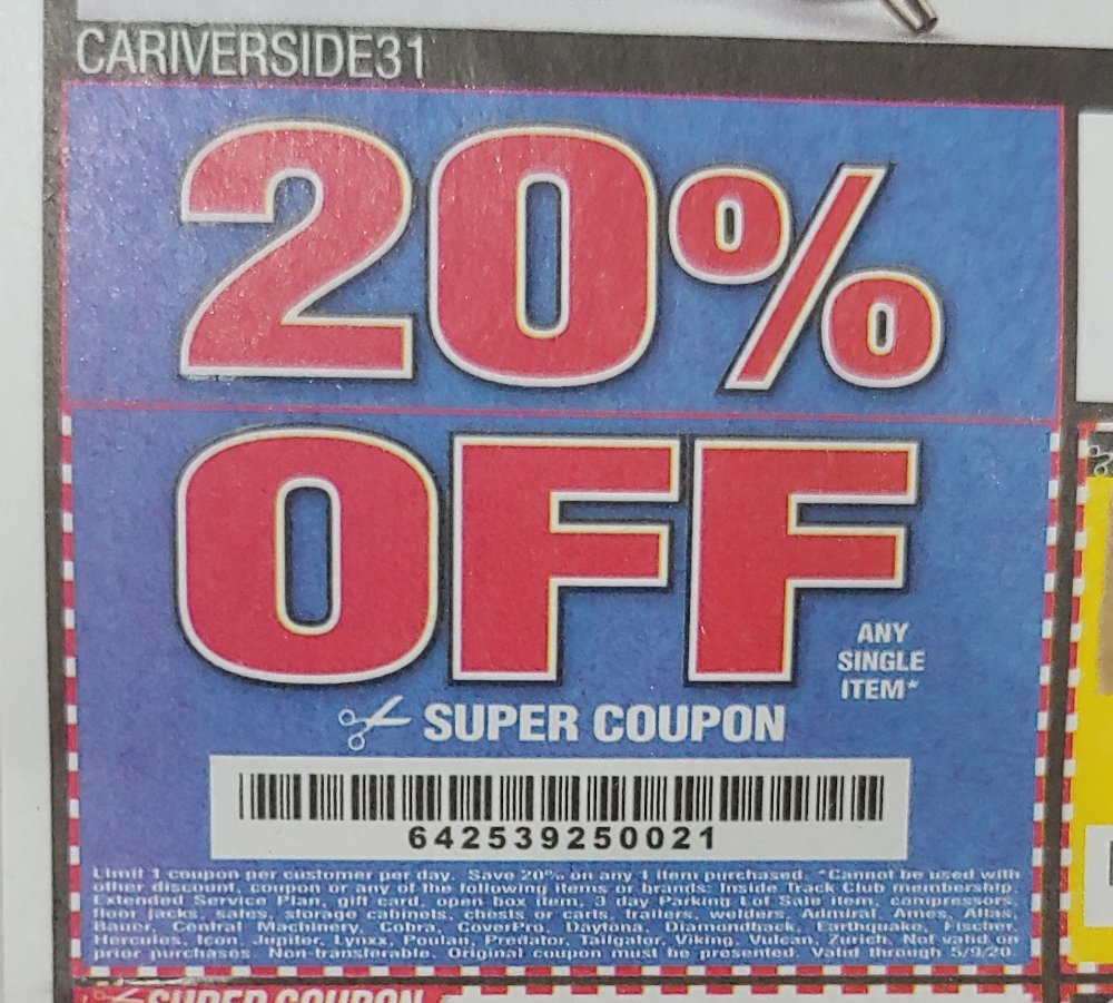 Harbor Freight Coupon, HF Coupons - 20% off