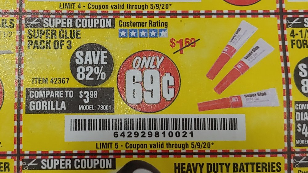 Harbor Freight Coupon, HF Coupons - super glue