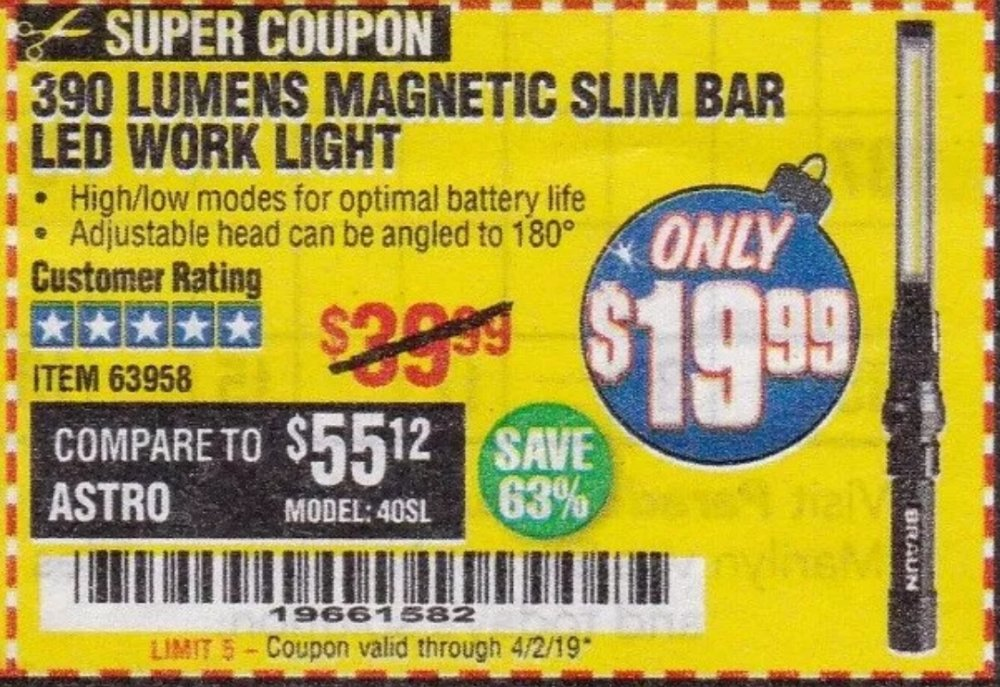 Harbor Freight Coupon, HF Coupons - Braun 390 Lumen Slim Bar Folding Led Worklight
