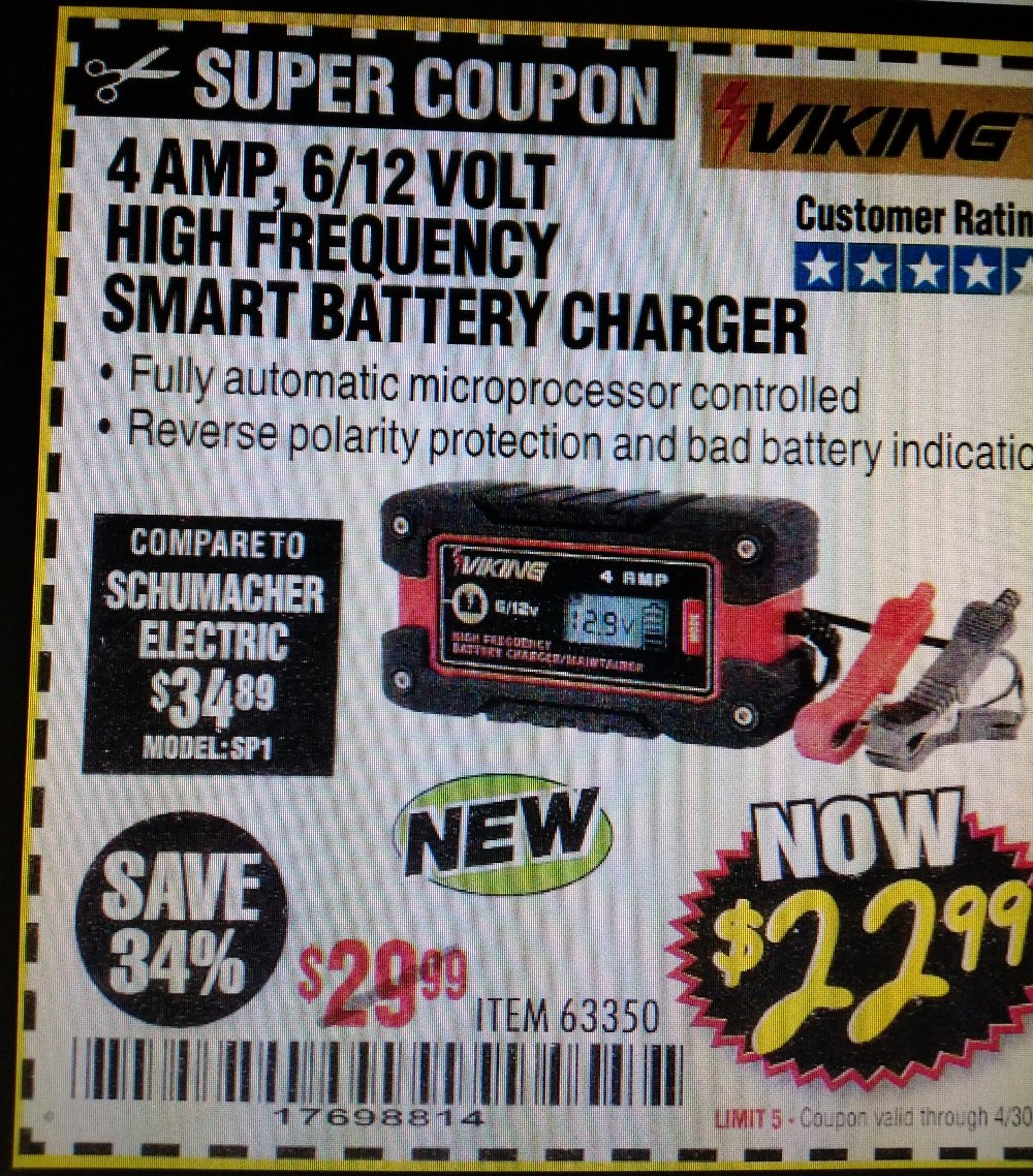 Harbor Freight Coupon, HF Coupons - 4amp 6/12v High Frequency Smart Battery Charger