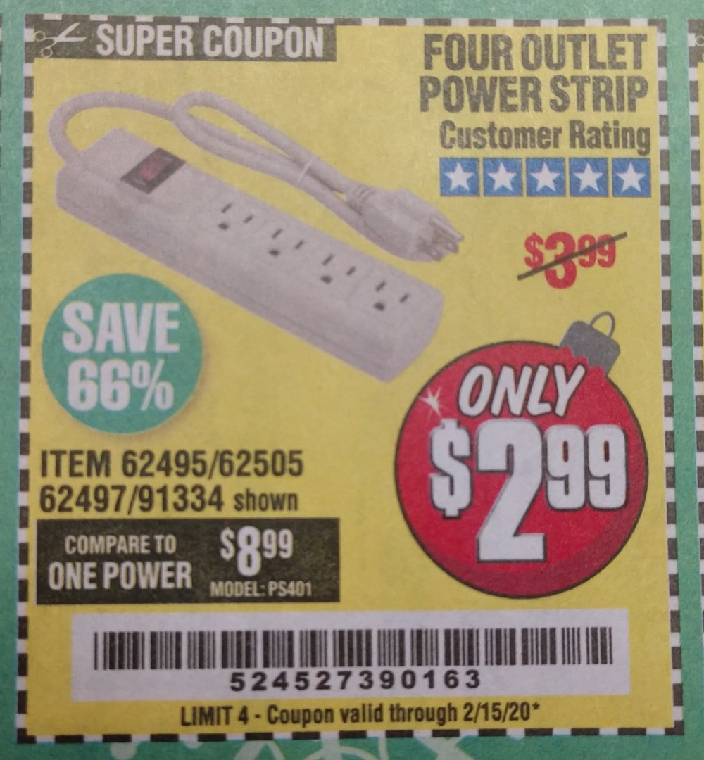 Harbor Freight Coupon, HF Coupons - 4 Outlet Power Strip