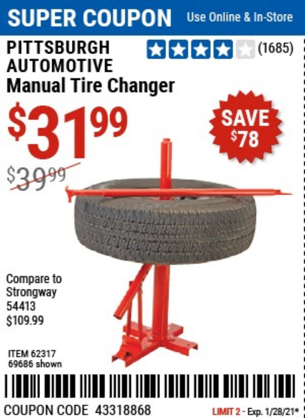 Harbor Freight Coupon, HF Coupons - Tire Changers