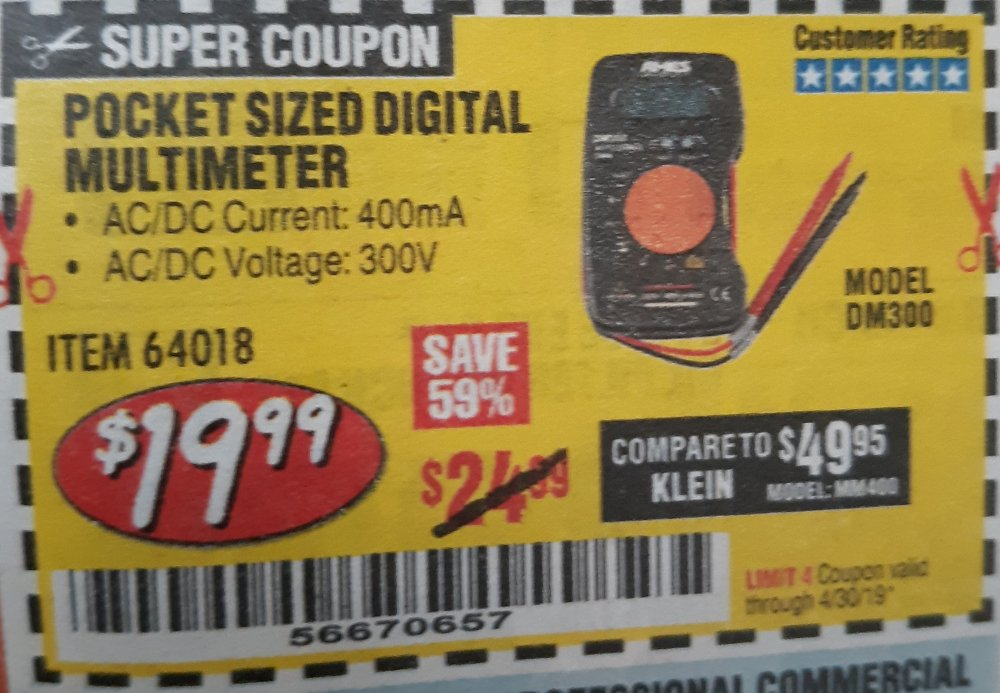 Harbor Freight Coupon, HF Coupons - Pocket Sized Digital Multimeter