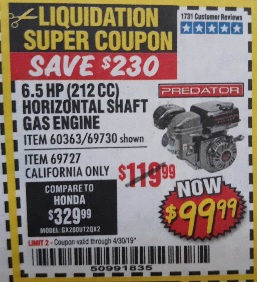 Harbor Freight Coupon, HF Coupons - 6.5 Hp (212 Cc) Ohv Horizontal Shaft Gas Engines