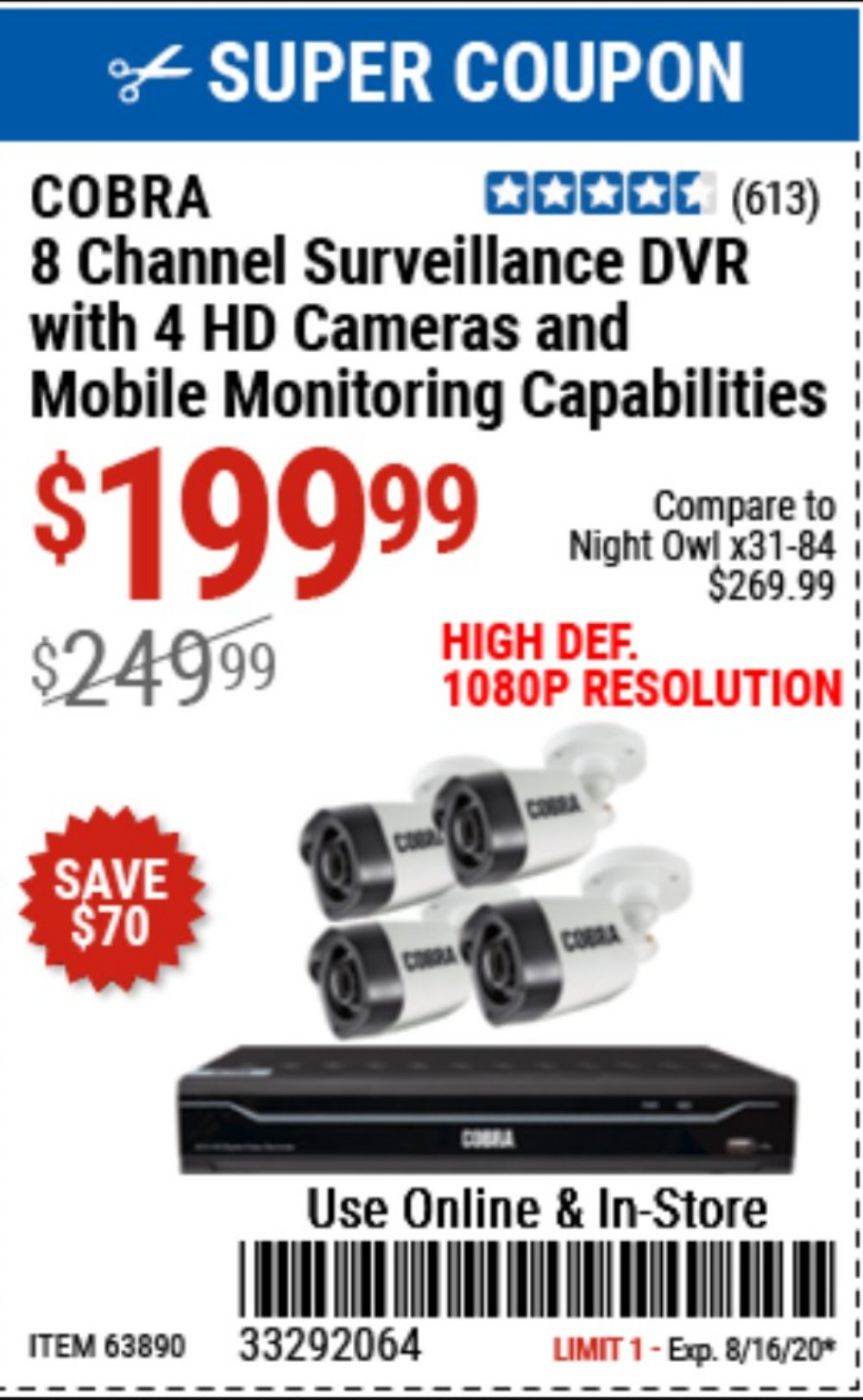 Harbor Freight Coupon, HF Coupons - 8 Channel Surveillance Dvr With 4 Hd Cameras And Mobile Monitoring Capabilities