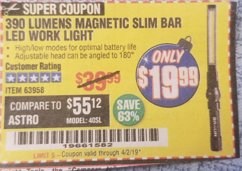 Harbor Freight Coupon, HF Coupons - 390 Slim Bar Led Work Light