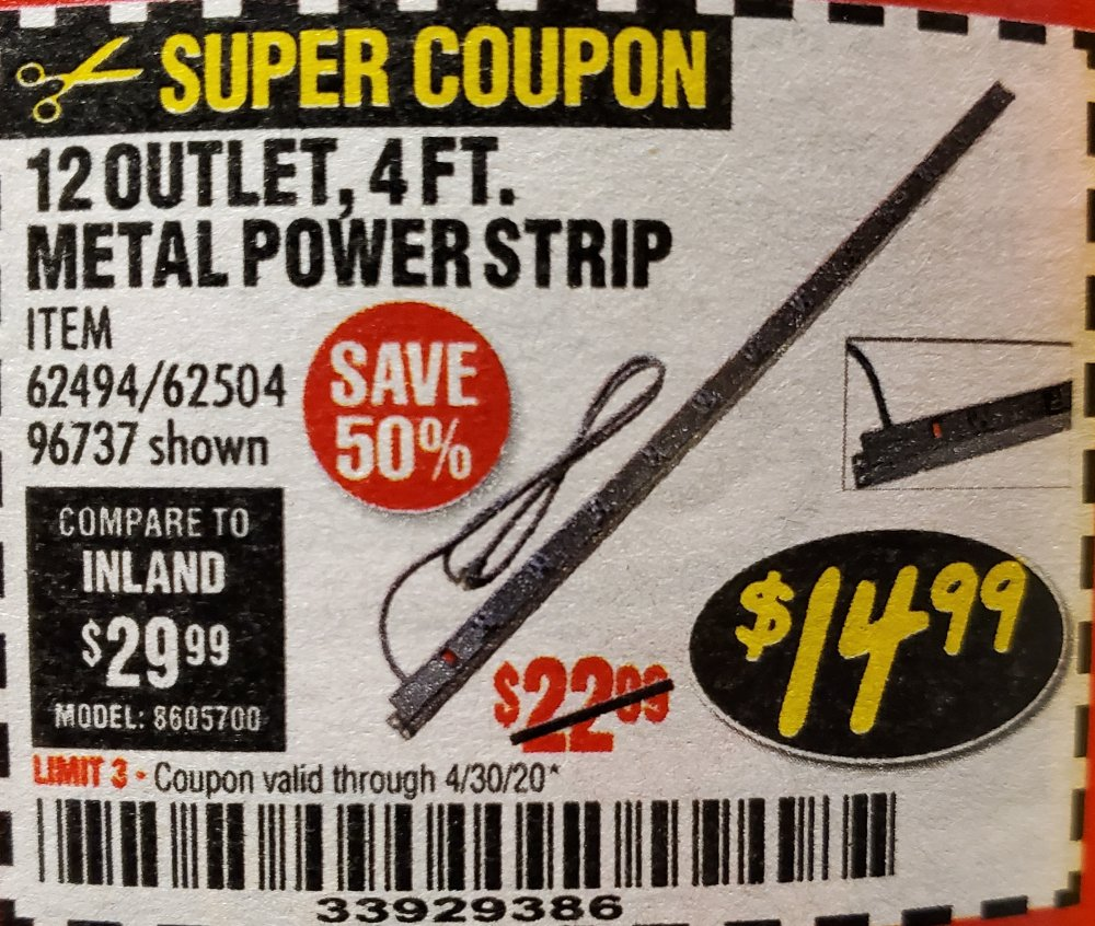 Harbor Freight Coupon, HF Coupons - 4 Ft. 12 Outlet Metal Power Strip