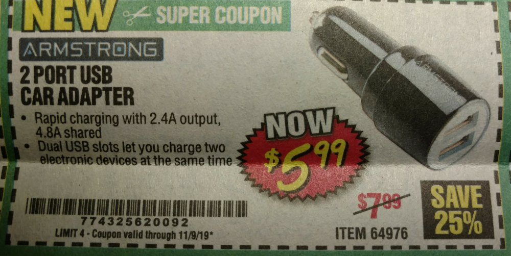 Harbor Freight Coupon, HF Coupons - Two Port Usb Car Adapter