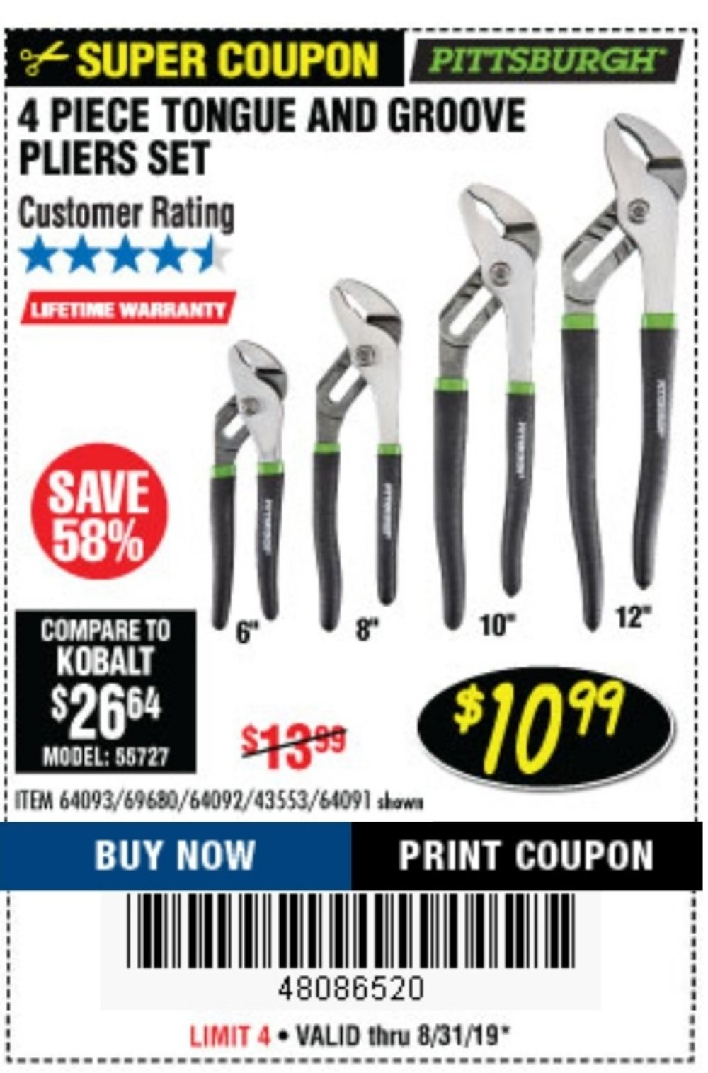 Harbor Freight Coupon, HF Coupons - 4 Piece Tongue And Groove Joint Pliers Set