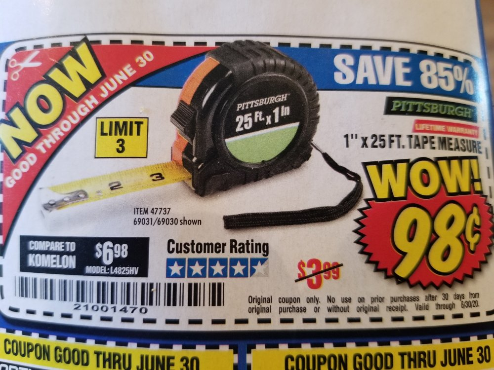Harbor Freight Coupon, HF Coupons - tape measure