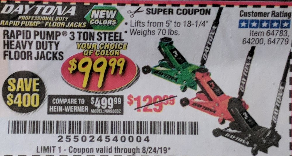 Harbor Freight Coupon, HF Coupons - Daytona 3 Ton Floor Jack