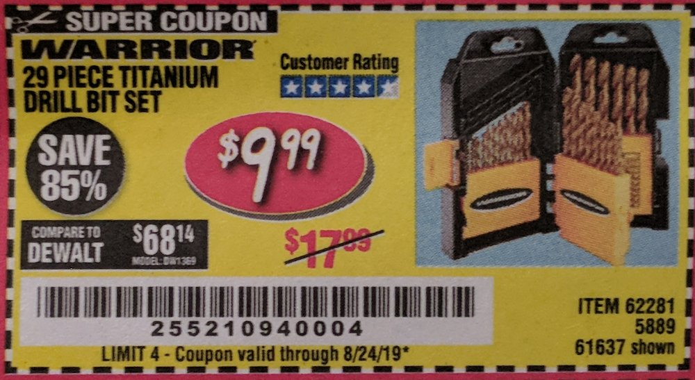 Harbor Freight Coupon, HF Coupons - Warrior 29 piece titanium drill bit set