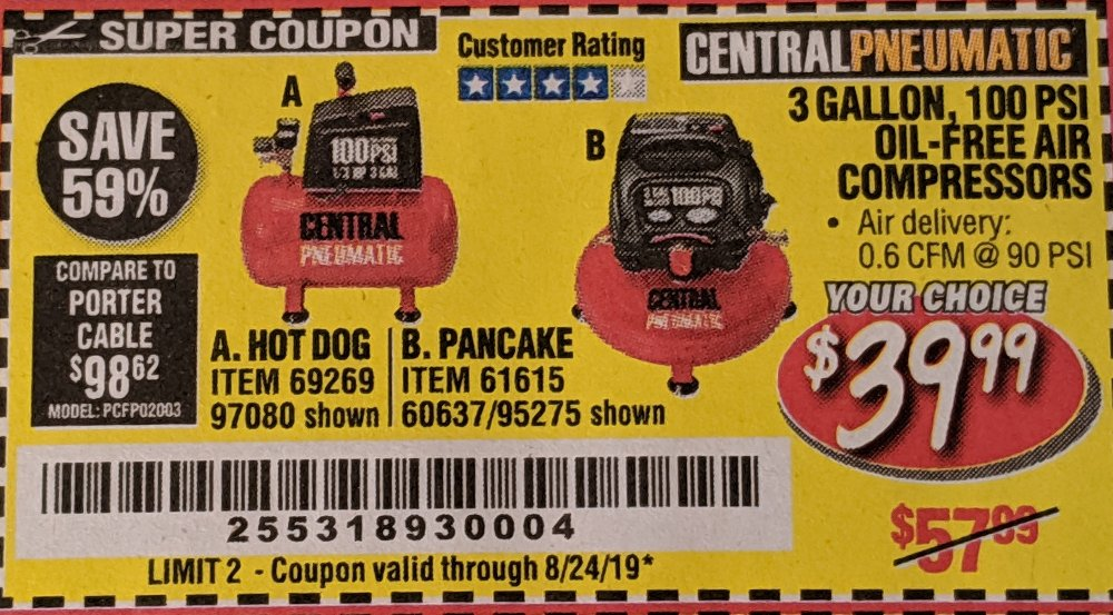 Harbor Freight Coupon, HF Coupons - 3 Gallon, 100 psi oil-free air compressor