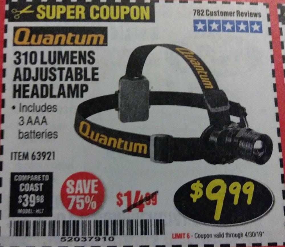 Harbor Freight Coupon, HF Coupons - 310 Lumen Headlamp