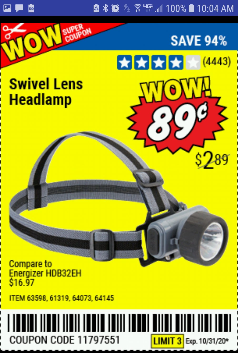 Harbor Freight Coupon, HF Coupons - Headlamp With Swivel Lens