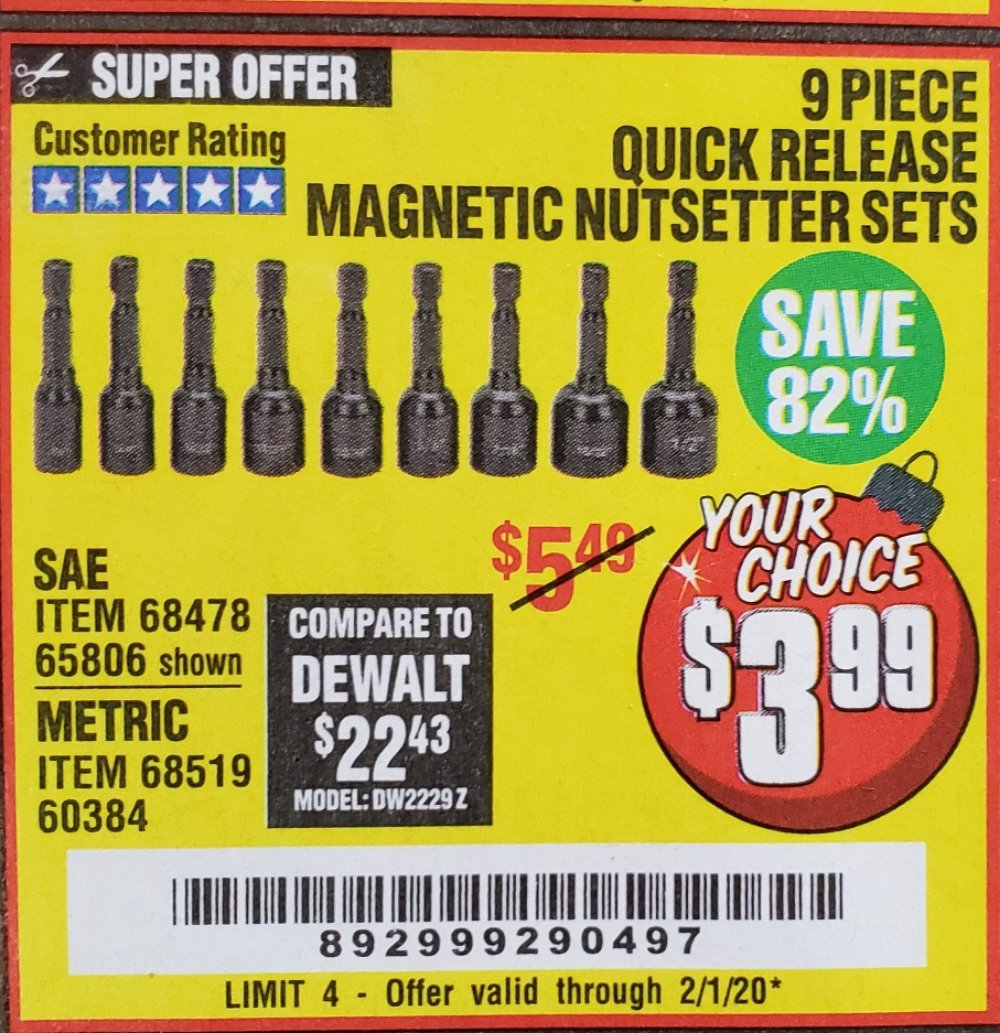 Harbor Freight Coupon, HF Coupons - 9 Piece Quick Change Magnetic Nutsetter Sets