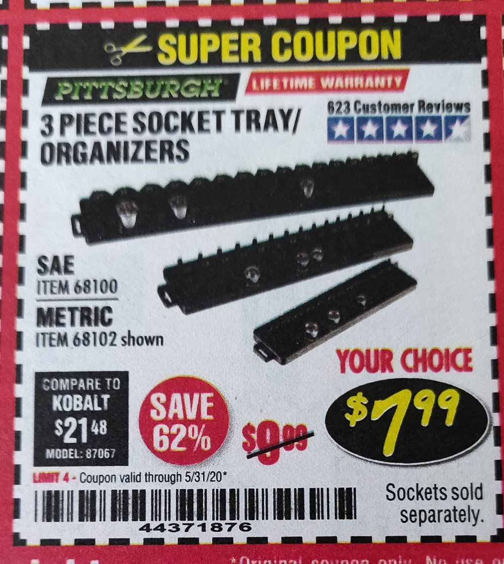 Harbor Freight Coupon, HF Coupons - 3 Piece Socket Tray/organizers