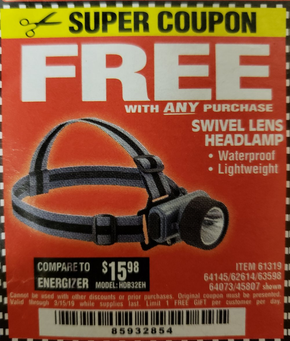 Harbor Freight Coupon, HF Coupons - FREE - Headlamp With Swivel Lens