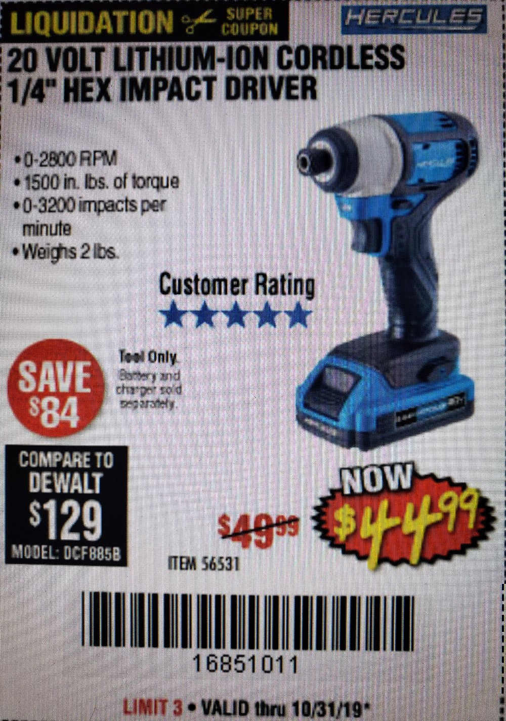 Harbor Freight Coupon, HF Coupons - 20 Volt Lithium-Ion Cordless 1/4 in Hex Impact Driver