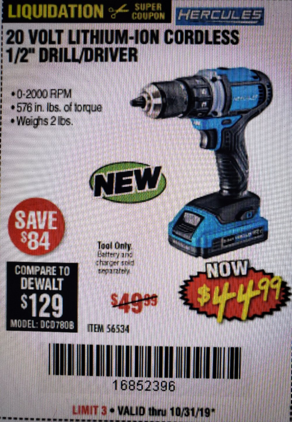 Harbor Freight Coupon, HF Coupons - 20 Volt Lithium-ion Cordless 1/2