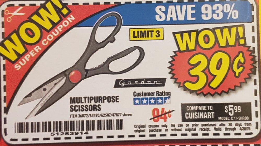 Harbor Freight Coupon, HF Coupons - scissors 39¢