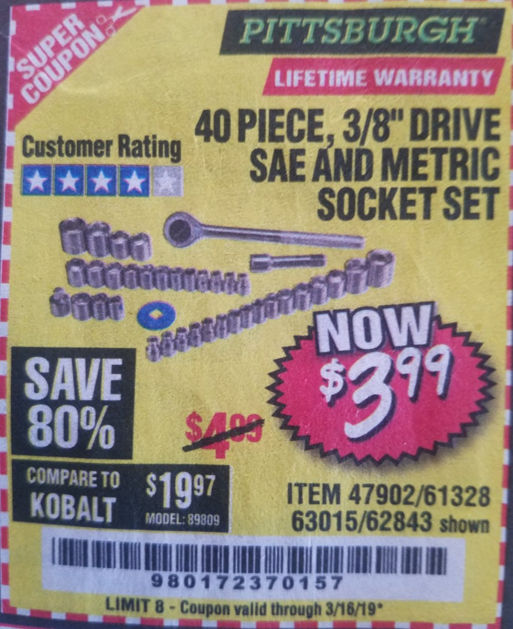 Harbor Freight Coupon, HF Coupons - 40 Piece 3/8