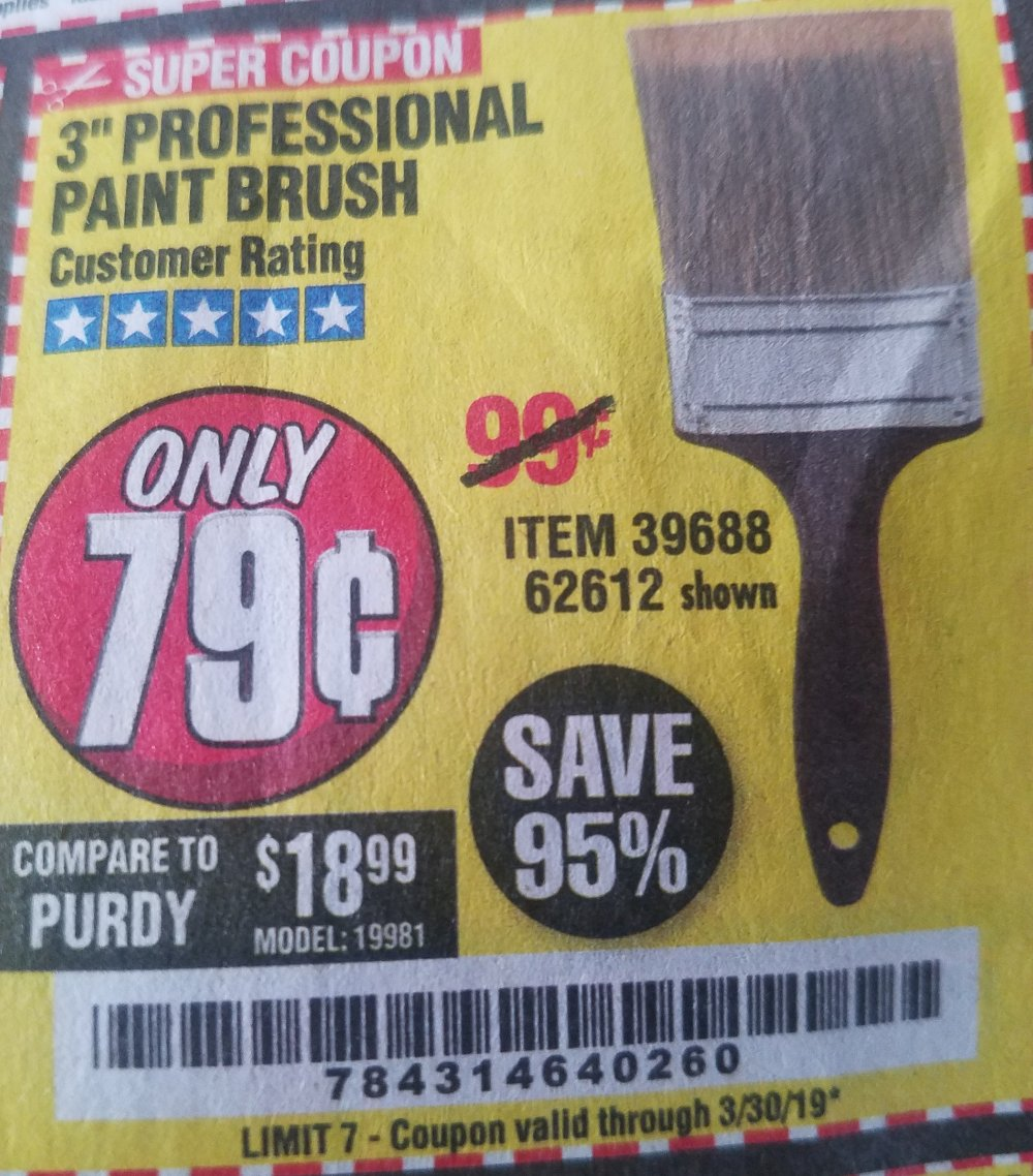 Harbor Freight Coupon, HF Coupons - 3in professional paint brush