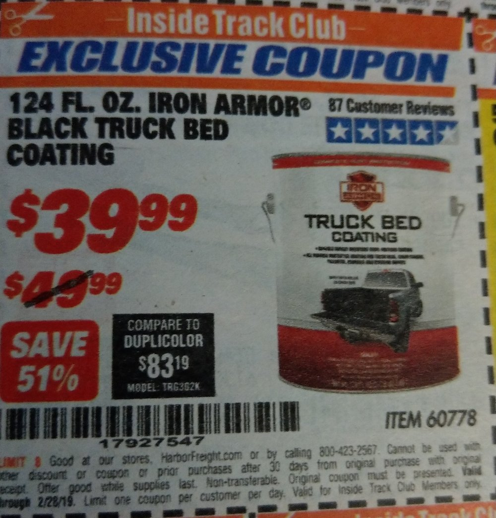 Harbor Freight Coupon, HF Coupons - 1 Gallon Iron Armor Black Truck Bed Coating
