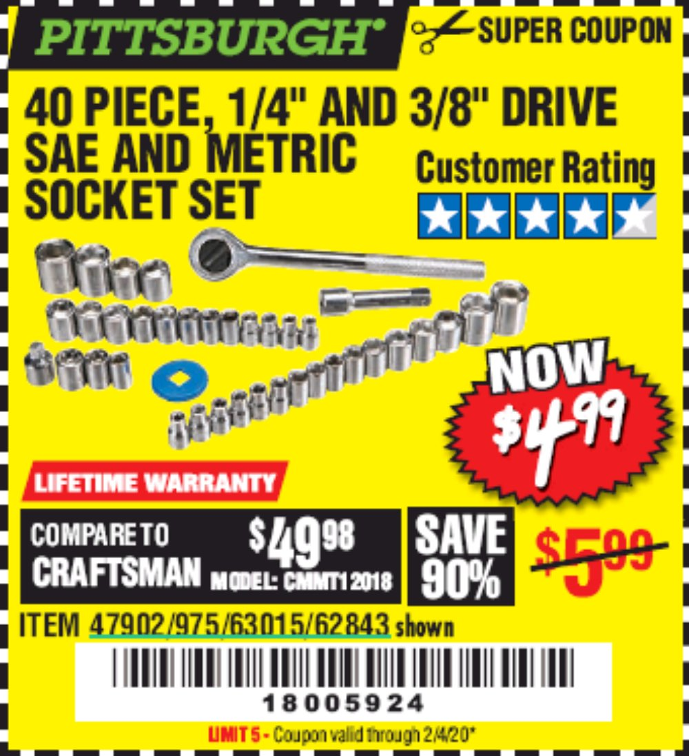 Harbor Freight Coupon, HF Coupons - 40 Piece 1/4