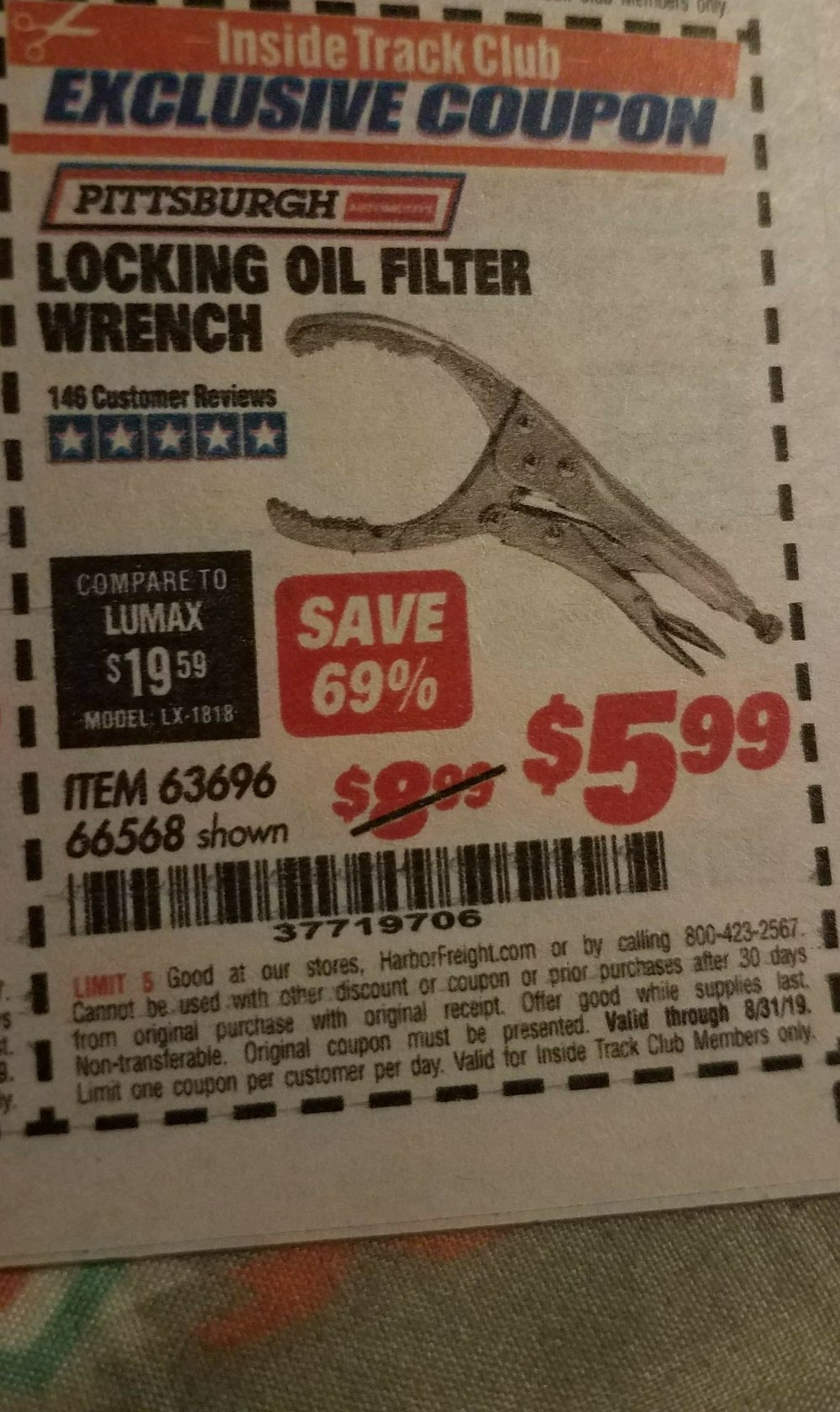 Harbor Freight Coupon, HF Coupons - Locking Oil Filter Wrench