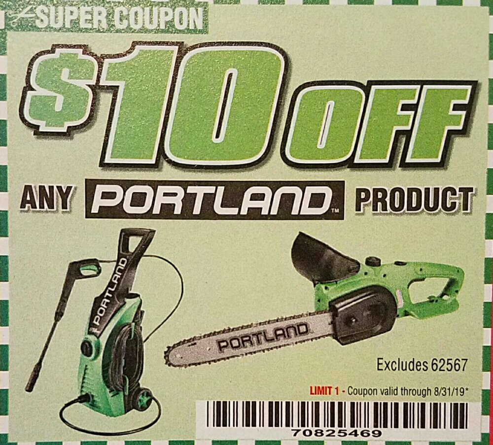 Harbor Freight Coupon, HF Coupons - $10 off any Portland product