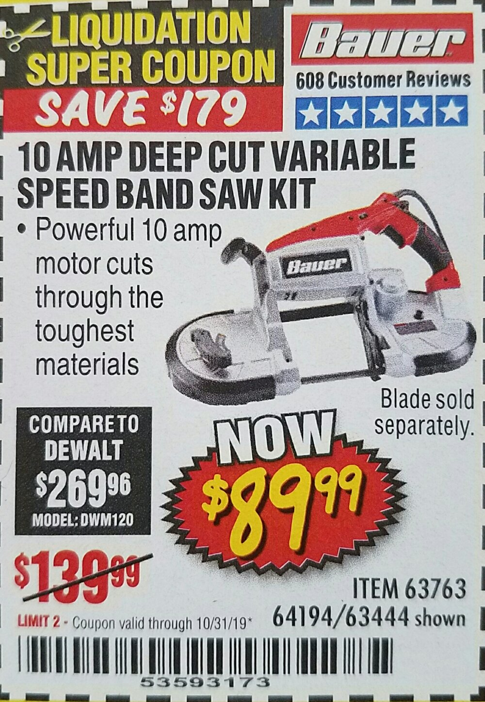 Harbor Freight Coupon, HF Coupons - 10 Amp Deep Cut Variable Speed Band Saw Kit